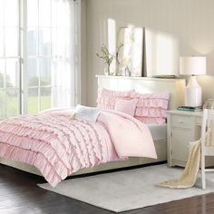 Intelligent Design Demi Blush Twin Comforter Set - The Home Depot Ruffle Comforter, Twin Comforter Sets, Bedding Sets, Cotton Duvet, Striped Bedding, Teen Bedding, Pink Bedding, King Comforter, Floral Comforter