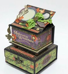 Halloween in Wonderland Notebooks and Boxes, Project by Alexandra Morein, Product by Graphic Photo 9 Graphic 45, Altered Boxes, Alice In Wonderland Artwork, Magic Of Oz, Alice Book, Halloween Cards, Mini Books, Scrapbook Paper