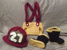 Newborn crocheted Fireman Hat Boots and Diaper Cover with Suspenders. $55.00, via Etsy.