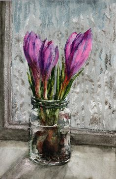 Crocus flower watercolor, Purple Crocus original watercolor painting, Crocus painting Purple flower watercolor Crocus flower Gift for mother