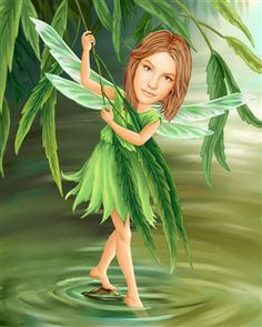River Pixie Caricature from Photos.  I would be lying if I said that this was not hanging up in my daughter's room with her picture on it. Little girls love fairies! Just send us a picture of your little one and we'll handle the rest. :)