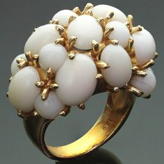 Celino White Coral Yellow Gold Cluster Dome Ring In Good Condition For Sale In New York, NY