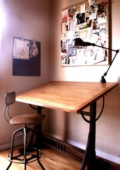 sand/stain/paint Dad's old drafting table to look like this, clean and simple.