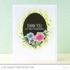Blissful Blooms stamp set and Die-namics, Polynesian Paradise, Double Stitched Oval STAX Die-namics, Wonky Chevron Stencil - Torico #mftstamps