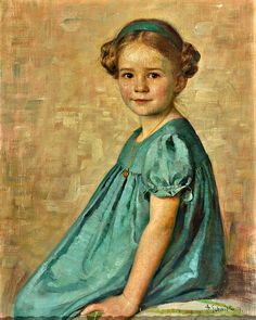 Portrait of a Little Girl Looking Directly at the Viewer by Adolf Schmidlin (Germany)