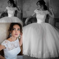 Stock White/Ivory Lace Pricess Wedding Dresses Bridal Gown Size 8-10-12-14-16-18