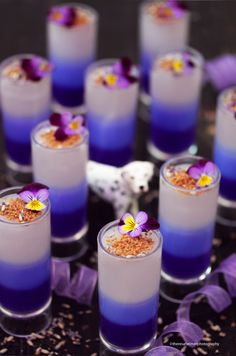 dessert shooters Lavender Mousse Shooters by theresahelmer Banana Pudding Desserts, Fluff Desserts, Fancy Desserts, Köstliche Desserts, Mini Dessert Shooters, Mini Dessert Cups, Dessert Shots, Shot Glass Desserts, Mini Dessert Recipes