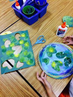 it's art day: Monet's Pond - monet - Kunstunterricht Art Lessons For Kids, Art Activities For Kids, Art For Kids, Kindergarten Art, Preschool Art, Pond Crafts, Arte Elemental, Grade 1 Art, Atelier D Art