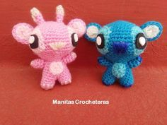 *MATERIALES: - Hilo de color azul claro, celeste, azul oscuro, blanco ( para Stitch) - Hilo de color rosa oscuro, color clarito, lil...