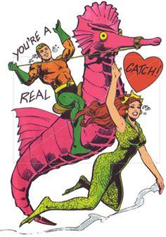 Aquaman riding a seahorse-vintage Valentine