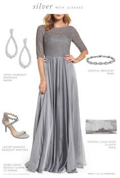 A wedding outfit featuring an embellished silver gown with sleeves for the Mother-of-the-Bride. This look is perfect for a black tie wedding! Silver Ballgown, Silver Gown, Silver Wedding Guest Dresses, Wedding Dresses, Silver Weddings, Formal Wedding, Bride Dresses, Mother Of The Bride Accessories, Black And Silver Dress