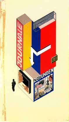 Herbert BayerDesign for a newspaper stand (1924)Tempera and cut-and-pasted print elements on paper64.5 × 34.5 cm  The walls are painted to match the architectonic divisions of the room precisely. Just as the room is divided into two sections, the ceiling is divided into two rectangular fields of color. One of them is black. Flooded by the milky light from the horizontal ceiling lamps, this black fills the hall with a cool repose. At the edges of an architectonic section the surfaces are…