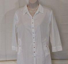 EILEEN FISHER Blouse Shirt Women Size M Career Button Up 3/4 Sleeve White Stripe #EileenFisher #ButtonDownShirt #Career