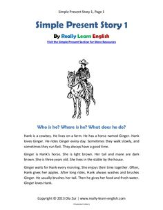 use of present tense in story English Grammar Tenses, Teaching English Grammar, English Vocabulary Words, English Phrases, Grammar Lessons, English Language, 3rd Grade Reading Comprehension Worksheets, Learn To English, Reading Comprehension
