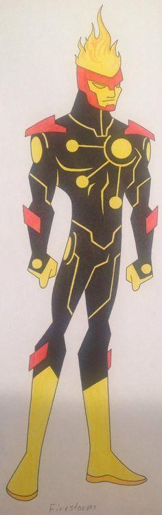 Firestorm Redesign by on DeviantArt Firestorm Dc, Super Hero Outfits, Flash Arrow, Comics Universe, Green Arrow, Art Studies, Punisher, Justice League, Supergirl