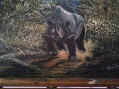 "Saatchi Art Artist FRANS BOTHA; Painting, ""Wild Rhino in Action"" #art"