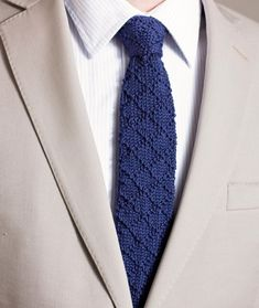 Knitting Pattern for Bradford Tie - Great Father& Day Gfit - Diamond pattern knit tie. Sizes: Short to Tall Business Attire For Men, Cotton Pictures, Tie Pattern, Knit Tie, Knitting Accessories, Knitting Stitches, Knitting Projects, Knit Crochet, Knitting Patterns