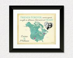 Long Distance Present for Best Friend, Friendship Quote Print, Birthday Gift for Friend, Moving Away Present, Canada and US Map Art by KeepsakeMaps on Etsy  #CanadaAndUSMap #BestFriendGift #LongDistanceQuote