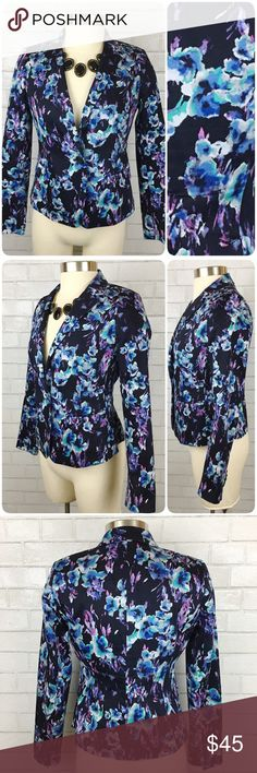 Petite Ann Taylor Floral 1-Button Blazer 2P This blazer is in like new condition! It has a beautiful floral watercolor print, single button closure, and faux chest pocket.  True to size. Ann Taylor Jackets & Coats Blazers