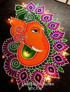 22 Best, Easy And Quick Ganesh Chaturthi 2019 Rangoli Designs Diwali Special Rangoli Design, Easy Rangoli Designs Diwali, Rangoli Simple, Rangoli Designs Latest, Simple Rangoli Designs Images, Rangoli Designs Flower, Free Hand Rangoli Design, Rangoli Patterns, Rangoli Ideas
