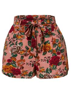 LE3NO Womens Stretchy Floral Print High Waisted Shorts with Belt