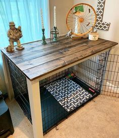 Dog Crate End Table, Wood Dog Crate, Puppy Crate, Diy Dog Crate, Dog Crate Furniture, Large Dog Crate, End Table Dog Bed, Diy Dog Kennel, Dog Kennel Cover