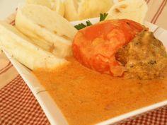 Plnená paprika v smotanovej omáčke | Míniny recepty Olympus Digital Camera, Hummus, Ethnic Recipes, Food, Meals, Yemek, Eten