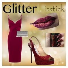 """Glitter Lipstick"" by l-bower ❤ liked on Polyvore featuring beauty, Pat McGrath, Aloura London and Jimmy Choo"