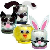 Baby Food Jar Animals What does your pet look like? Make one out of a baby food jar. Kids Crafts, Baby Food Jar Crafts, Daycare Crafts, Sunday School Crafts, Mason Jar Crafts, Crafts To Do, Easter Crafts, Projects For Kids, Diy For Kids