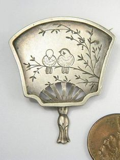 Lovely Antique English Victorian Aesthetic Japonesque Hand Fan Brooch, sterling C1880 | eBay..