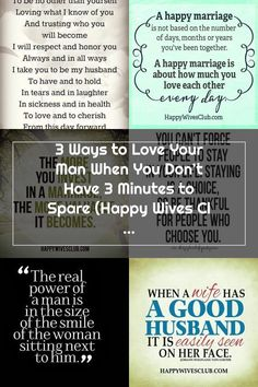 3 Ways to Love Your Man When You Don't Have 3 Minutes to Spare | Happy Wives Club | Bloglovin' Happy Wife Quotes, Happy Marriage, Your Man, Trust Yourself, Love You, Club, Te Amo, Je T'aime, Successful Marriage
