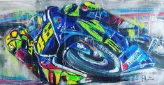 Valentino Rossi, acrylic on canvas R F1 Racing, Drag Racing, South African Art, Nissan 370z, Valentino Rossi, Lamborghini Gallardo, Mercedes Amg, Motogp, Maserati