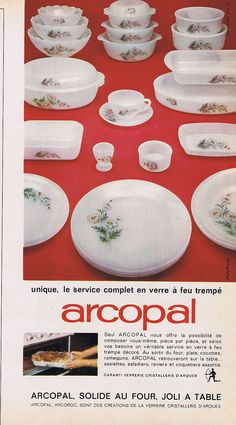 Advertising Advertising Arcopal Service 1961 074 IN FIRE Tempered Glass | eBay
