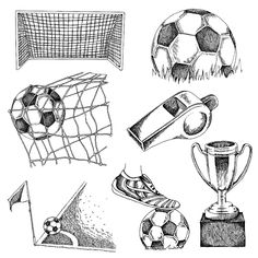 Find Design Elements Soccer Doodle Illustration stock images in HD and millions of other royalty-free stock photos, illustrations and vectors in the Shutterstock collection. Thousands of new, high-quality pictures added every day. Tattoo Futbol, Soccer Tattoos, Tumblr Drawings, Doodle Drawings, Cartoon Drawings, Soccer Art, Soccer Poster, Basketball Hoop, Football Design