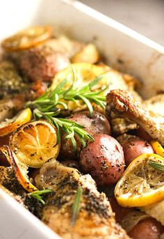 12. Roasted Lemon Rosemary Chicken With Potatoes #greatist http://greatist.com/eat/most-popular-recipes-from-2016