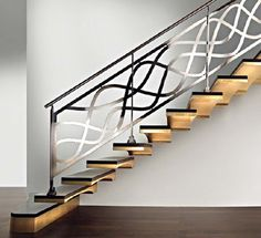 Modern interior staircase design ideas 2018 for luxury lovers, wood, glass, concrete and metal interior stairs designs and stair railing for high-class homes and villas Staircase Railing Design, Interior Stair Railing, Modern Stair Railing, Staircase Railings, Modern Stairs, Railing Ideas, Banisters, Bannister Ideas, Staircases