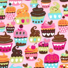 Pink Blue Brown Cupcakes Treats Sweets Quilting Fabric F Quarter   eBay