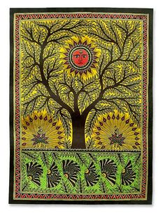 Madhubani painting, 'Tree of Life' - Indian Madhubani Painting