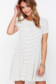 Ferry Ride Ivory Striped Swing Dress at Lulus.com!