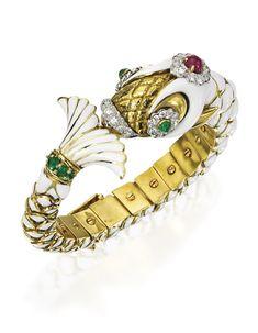 18 Karat Gold, Platinum, Diamond, Colored Stone and Enamel Bangle-Bracelet, David Webb | lot | Sotheby's