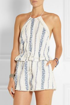 Zimmermann | Hydra embroidered printed cotton playsuit