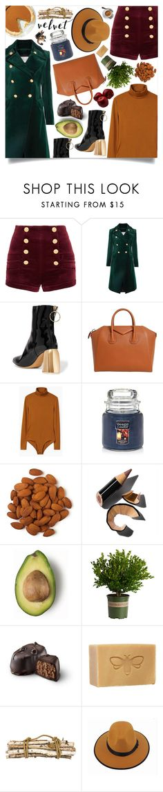 """Crushing on Velvet"" by marina-volaric ❤ liked on Polyvore featuring Pierre Balmain, E L L E R Y, Givenchy, MANGO, Yankee Candle, Bobbi Brown Cosmetics, Jayson Home, Fall and velvet"