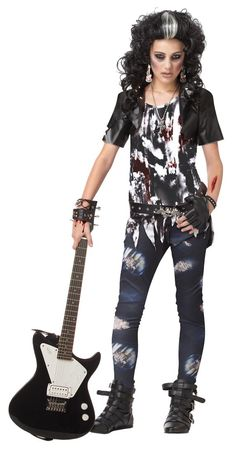 Party for eternity in this killer cool Rocked Out Zombie tween costume. It's Goth meets rock with a short sleeved cropped jacket, black belt and matching leggings! Do the monster mash and the zombie w