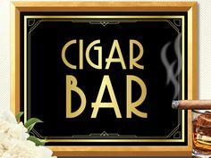 CIGAR BAR SIGN cigar bar Great Gatsby decorations by manyprints