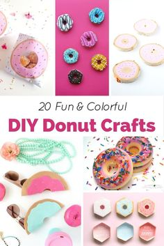 20 Fun and Colorful DIY Donut Crafts Who doesn't love donuts? They are sweet, tasty, and oh-so-cute! These 20 fun and colorful DIY donut crafts are fun to make and even look good enough to eat! Diy Craft Projects, Kids Crafts, Diy Crafts For Kids, Arts And Crafts, Craft Ideas, Kids Diy, Fun Ideas, Project Ideas, Party Ideas