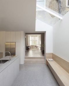 Recently completed two-storey extension to a Victorian terraced house in West London. Al-Jawad Pike design private home in Shepherd's Bush, London. Modern Interior Design, Interior Design Kitchen, Interior Architecture, Interior Decorating, Architecture Life, Interior Design London, Contemporary Interior, Narrow Kitchen Extension, Kitchen Extension Terraced House