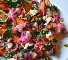 In #testkitchen yesterday: roasted sweet potato with goats cheese, pickled onions, coriander salsa and spicy almonds.