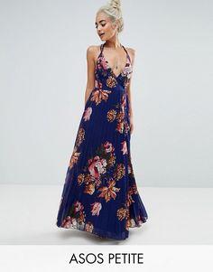 ASOS PETITE Floral Cami Pleated Maxi Dress