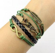 Infinity bracelet,Skeleton bracelet, Feather bracelet -- wax rope braided leather bracelet, friendship gift. on Etsy, $4.59