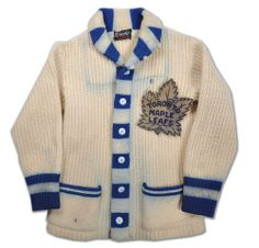 "Former Leafs' captain Ted Kennedy's 1940s Toronto Maple Leafs Wool Cardigan - It reminds me of ""The Hockey Sweater"" by Roch Carrier."
